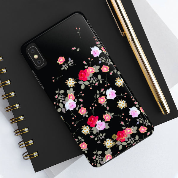 Black Pink Floral Rose Print Designer Case Mate Tough Phone Cases-Made in USA
