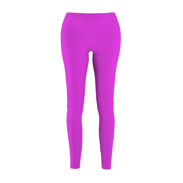 Bright Pink Classic Solid Color Women's Casual Fashion Tight Leggings - Made in USA-Casual Leggings-M-Heidi Kimura Art LLC
