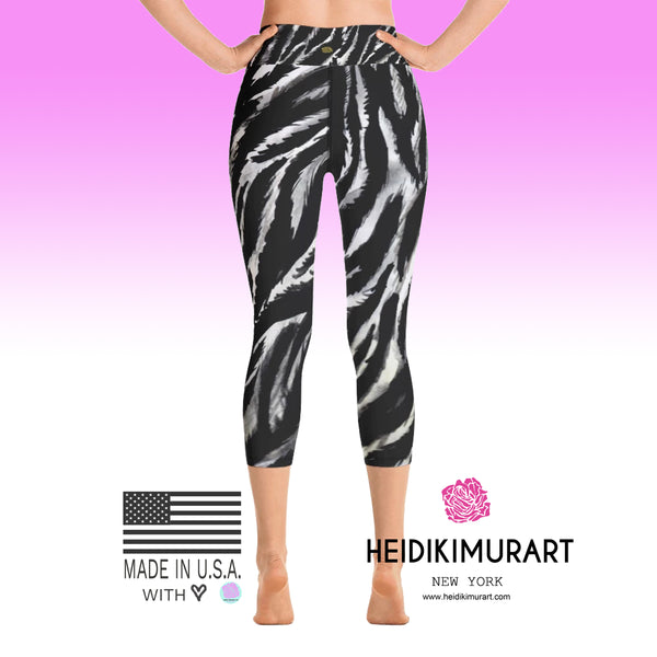 Zebra Animal Stripe Print Women's Yoga Capri Leggings- Made in USA (XS-XL)-Capri Yoga Pants-Heidi Kimura Art LLC Zebra Striped Yoga Capri Leggings, Black White Zebra Animal Stripe Print Women's Yoga Capri Leggings Pants - Made in USA/EU (US Size: XS-XL)