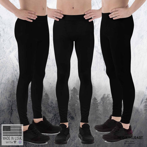 Classic Solid Black Color Premium Men's Leggings Tights Yoga Pants - Made in USA/EU-Men's Leggings-Heidi Kimura Art LLC Black Meggings, Classic Solid Black Color Designer Men's Leggings Tights Yoga Pants - Made in USA/EU (US Size: XS-3XL) Sexy Meggings, Men's Workout Gym Tights Leggings