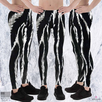Gray Zebra Stripe Black White Animal Print Men's Leggings Tights Pants - Made in USA (US Size: XS-3XL)