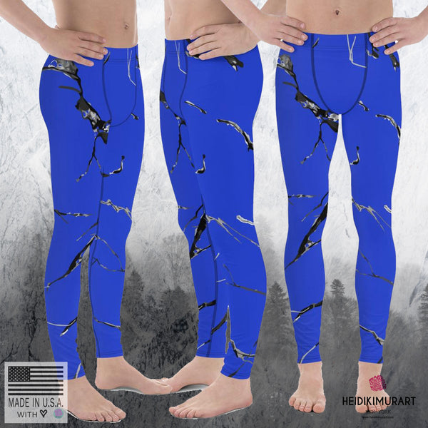Blue Marble Abstract Print Sexy Meggings Men's Workout Gym Tights Leggings Pants-Men's Leggings-Heidi Kimura Art LLC Blue Marble Men's Leggings, Blue Marble Texture Abstract Print Sexy Meggings Men's Workout Gym Tights Leggings Pants-Made in USA/EU (US Size: XS-3XL)
