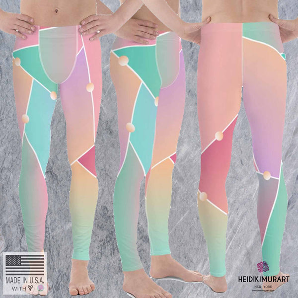 Ombre Pink Orange Graphic Abstract Pattern Men's Leggings Tights Pants Meggings-Men's Leggings-Heidi Kimura Art LLC