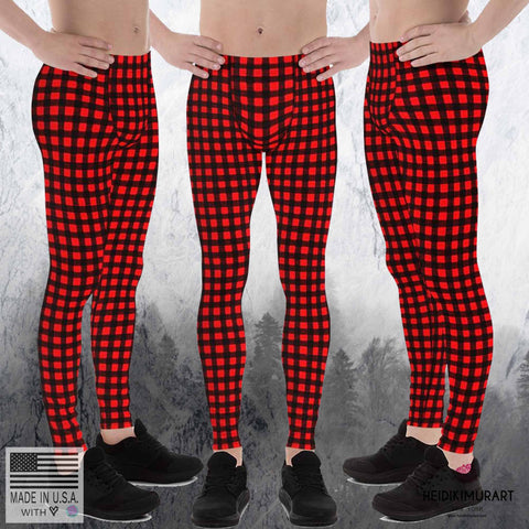 Buffalo Red Plaid Print Men's Leggings, Tights Yoga Pants-Made in USA/EU(US Size: XS-3XL)-Men's Leggings-Heidi Kimura Art LLC Buffalo Red Plaid Men's Leggings, Buffalo Red Plaid Print Men's Leggings Tights Yoga Pants-Made in USA/EU (US Size: XS-3XL)
