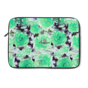 "Turquoise Blue Floral Laptop Sleeve Print 12', 13"", 14"" Laptop Sleeve - Made in the USA-Laptop Sleeve-13""-Heidi Kimura Art LLC"