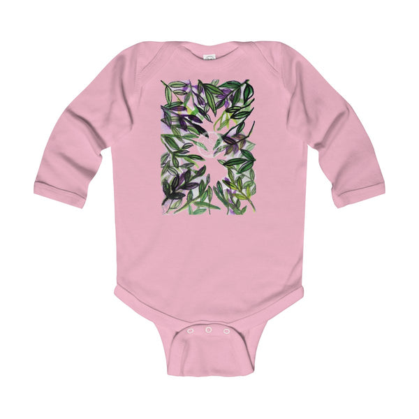 Green Tropical Leaves Baby Infant Long Sleeve Bodysuit - Made in UK (UK Size: 6M-24M)-Kids clothes-Pink-12M-Heidi Kimura Art LLC
