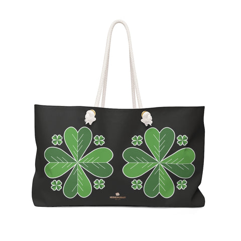 "Black Green Clover Weekender Bag, Leaf St. Patrick's Day Print 24""x13"" Bag- Made in USA-Weekender Bag-24x13-Heidi Kimura Art LLC"