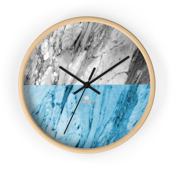 "Gray Blue White Marble Print Art Large Indoor Designer 10"" dia. Wall Clock-Made in USA-Wall Clock-10 in-Wooden-Black-Heidi Kimura Art LLC"