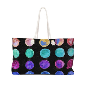 "Cool Black Designer Colorful Polka Dots Designer 24""x13"" Weekender Bag-Weekender Bag-24x13-Heidi Kimura Art LLC"