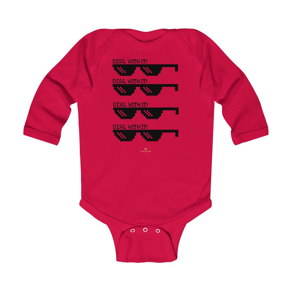 "Funny ""Deal With It"" Cute Baby Boy/Girls Infant Kids Long Sleeve Bodysuit -Made in USA-Infant Long Sleeve Bodysuit-Red-NB-Heidi Kimura Art LLC"
