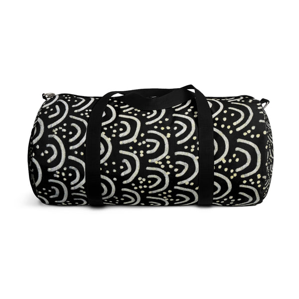 African Tribal Print Duffel Bag, Black Gold All Day Small Or Large Size Bag, Made in USA-Duffel Bag-Heidi Kimura Art LLC