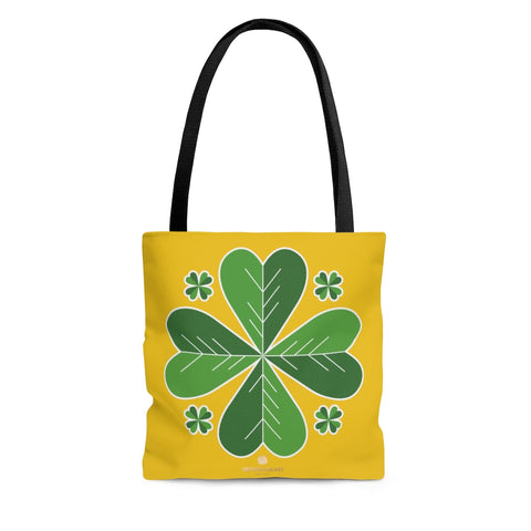 Yellow And Green Irish Green Clover Leaf St. Patrick's Day Print Tote Bag- Made in USA-Tote Bag-Large-Heidi Kimura Art LLC