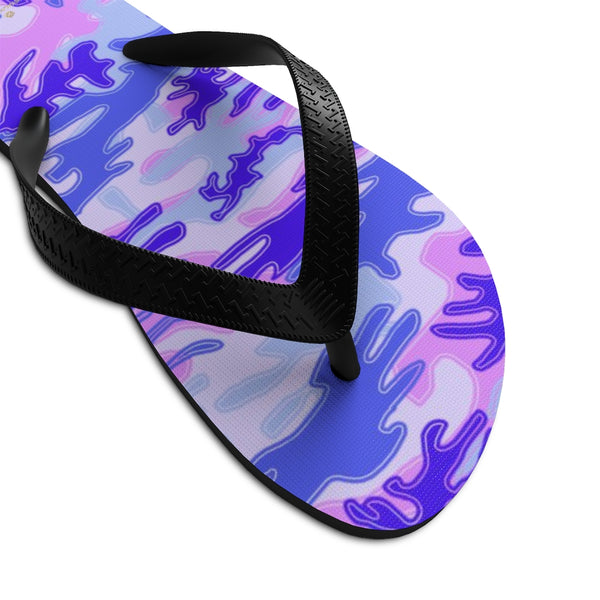 Pink Purple Camouflage Camo Military Print Unisex Flip-Flops Sandals- Made in USA-Flip-Flops-Heidi Kimura Art LLC