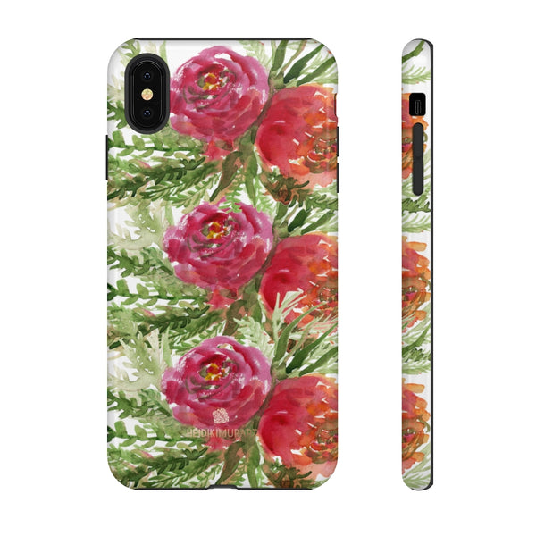 Red Orange Floral Phone Case, Flower Print Tough Designer Phone Case -Made in USA-Phone Case-Printify-iPhone XS MAX-Glossy-Heidi Kimura Art LLC