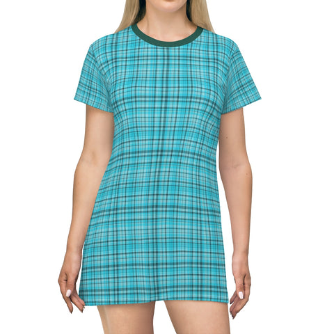 Light Blue Plaid Tartan Print Designer Crew Neck Long T-Shirt Dress-Made in USA-T-Shirt Dress-L-Heidi Kimura Art LLC