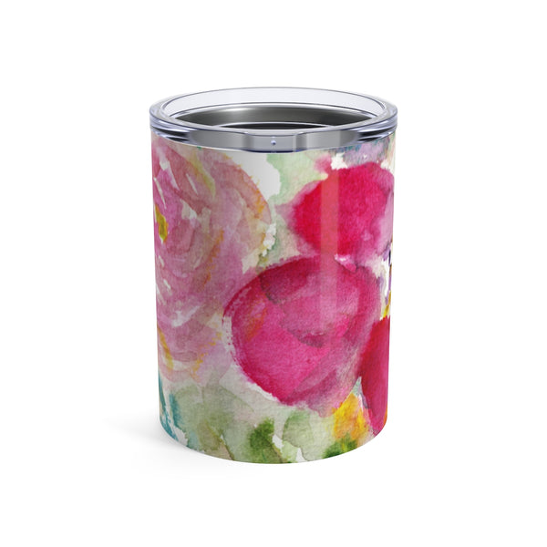 Winter Pink Rose Floral Print Stainless Steel 10 oz Tumbler 10oz- Made in USA  Winter Pink Rose Floral Tumbler 10oz - Heidi Kimura Art LLC