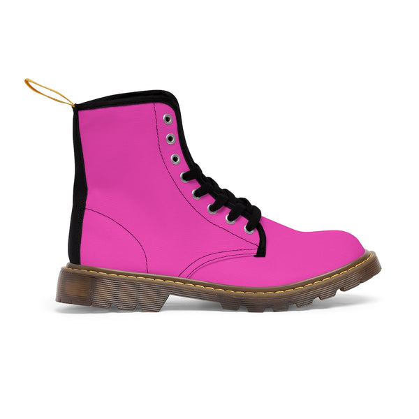 Rouge Pink Classic Solid Color Women's Winter Lace-up Toe Cap Boots (Size 6.5-11)-Women's Boots-Heidi Kimura Art LLC