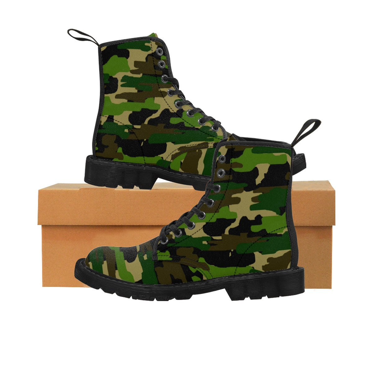 Green Army Military Camouflage Print Men's Lace-Up Winter Boots Cap Toe Shoes (US Size 7-10.5)-Men's Winter Boots-Black-US 9-Heidi Kimura Art LLC Green Camo Men's Boots, Green Army Military Camouflage Print Men's Lace-Up Winter Boots Cap Toe Shoes (US Size 7-10.5)