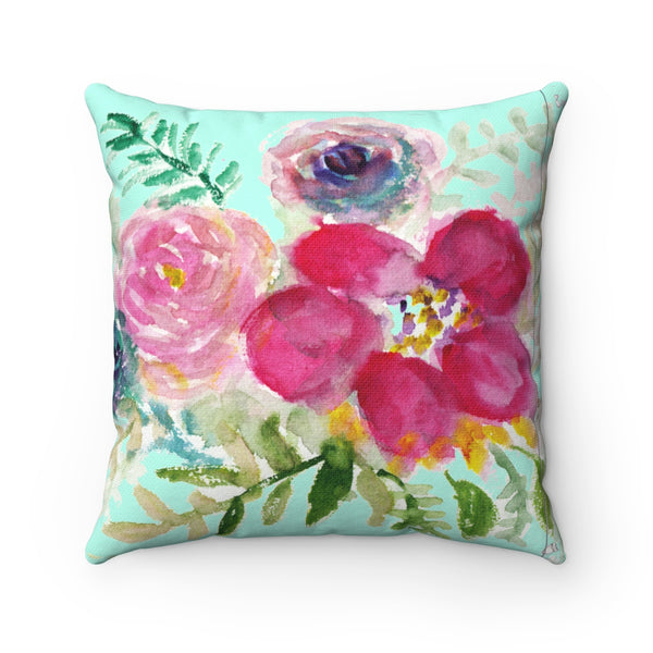 Red Rose Girlie Floral Wreath Spun Polyester Square 2-pc Pillow Cover Set-Pillow-14x14-Heidi Kimura Art LLC