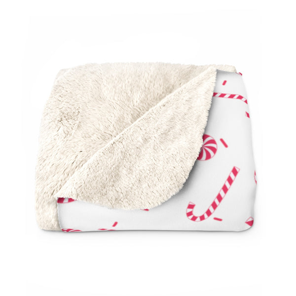 Classic White Red Candy Cane Christmas Print Cozy Sherpa Fleece Blanket - Made in USA-Blanket-Heidi Kimura Art LLC