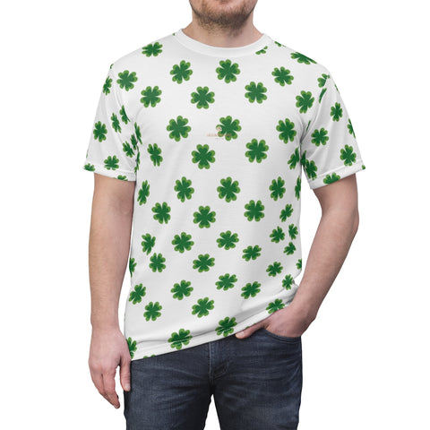 White Green Clover St. Patrick's Day Print Unisex Crew Neck Cut & Sew Tee- Made in USA-Unisex T-Shirt-4 oz.-White Seams-L-Heidi Kimura Art LLC