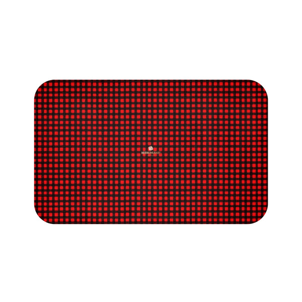 Buffalo Red Plaid Print Designer Bathroom Anti-Slip Microfiber Bath Mat-Made in USA-Bath Mat-Large 34x21-Heidi Kimura Art LLC