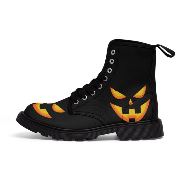 Halloween Pumpkin Face Men's Lace-Up Winter Boots Men's Shoes (US Size: 7-10.5)-Men's Winter Boots-Heidi Kimura Art LLC