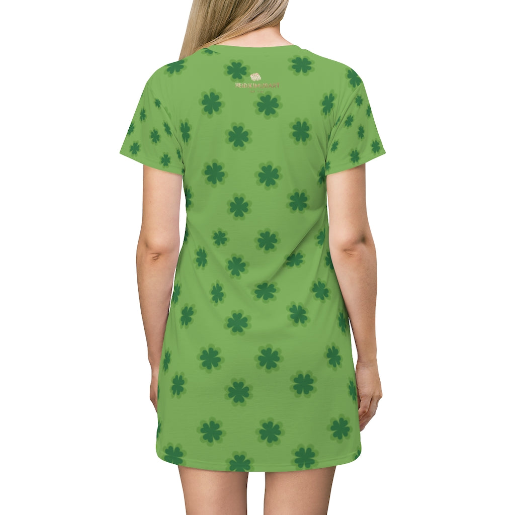 Light Green Clover Print St. Patrick's Day Women's Long T-Shirt Dress- Made in USA-T-Shirt Dress-L-Heidi Kimura Art LLC