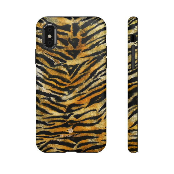 Tiger Stripe Print Phone Case, Animal Print Tough Designer Phone Case -Made in USA-Phone Case-Printify-iPhone XS-Matte-Heidi Kimura Art LLC