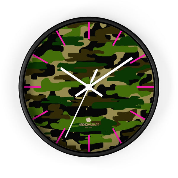 Green Camouflage Camo Army Military Print 10 in. Dia. Indoor Wall Clock- Made in USA-Wall Clock-10 in-Black-White-Heidi Kimura Art LLC