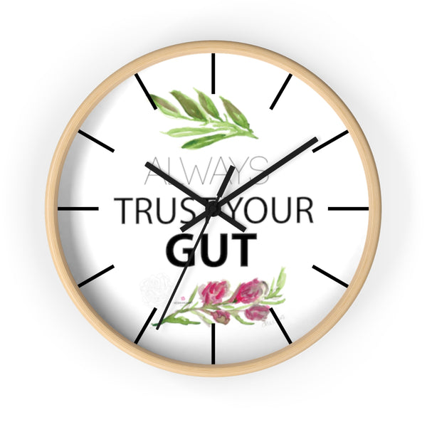 "Inspirational Wall Clock, with ""Always Trust Your Gut"" Quote 10"" Dia. Clock - Made in USA-Wall Clock-Wooden-Black-Heidi Kimura Art LLC"
