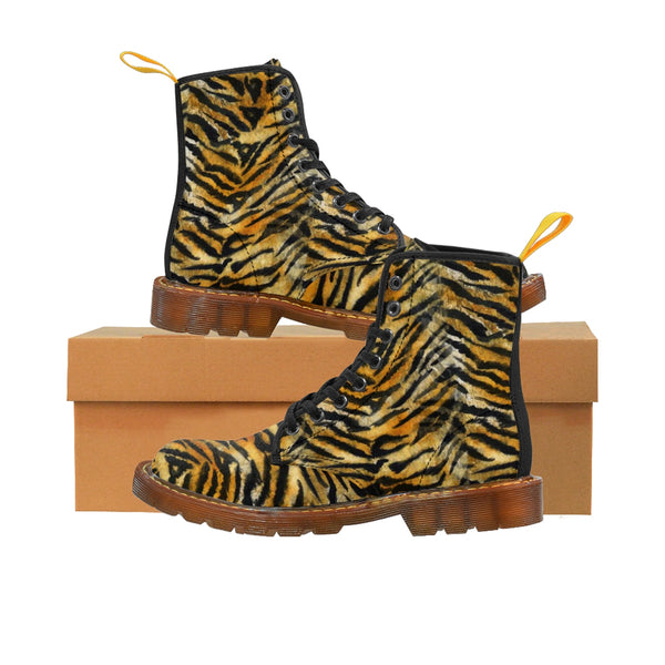 Orange Tiger Stripe Animal Print Designer Men's Winter Boots (US Size: 7-10.5)-Men's Boots-Brown-US 10-Heidi Kimura Art LLC