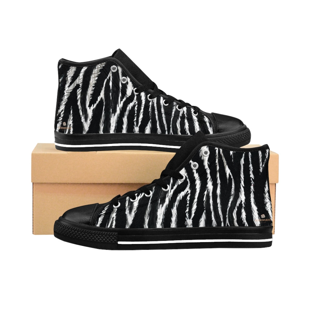 "Black Zebra Women's Sneakers, Striped Animal Print Designer High-top Fashion Tennis Shoes-Shoes-Printify-Black-US 9-Heidi Kimura Art LLCZebra Women's Sneakers, Striped Animal Print 5"" Calf Height Women's High-Top Sneakers Running Canvas Shoes (US Size: 6-12)"