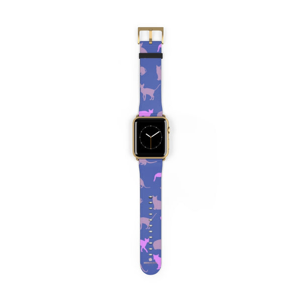 Purple Pink Cats Print 38mm/42mm Premium Watch Band For Apple Watch- Made in USA-Watch Band-42 mm-Gold Matte-Heidi Kimura Art LLC