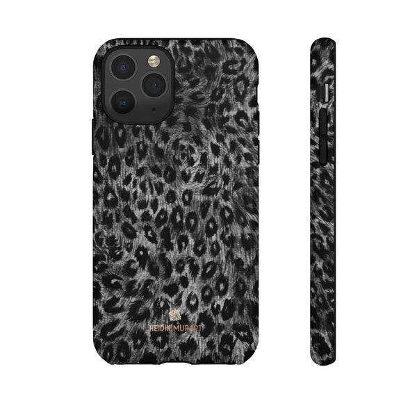 Grey Leopard Animal Print Tough Cases, Designer Phone Case-Made in USA-Phone Case-Printify-iPhone 11 Pro-Glossy-Heidi Kimura Art LLC