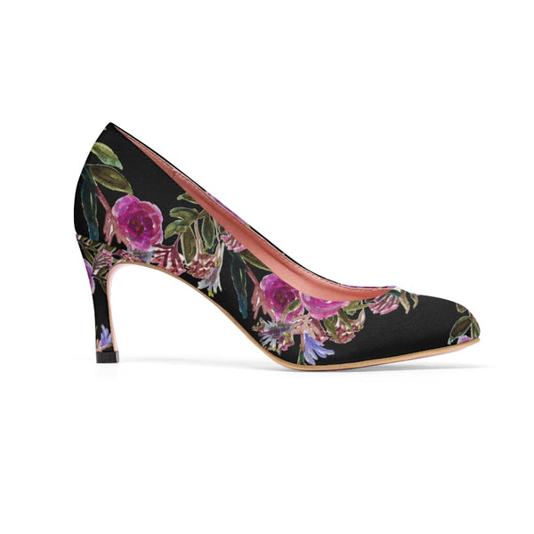 "Black Floral Garden Purple Pink Rose Designer Women's 3"" High Heels Canvas Shoes-3 inch Heels-Heidi Kimura Art LLC Black Floral Print Women's Heels, Black Floral Garden Purple Pink Rose Designer Women's 3"" High Heels Canvas Shoes (US Size: 5-11)"