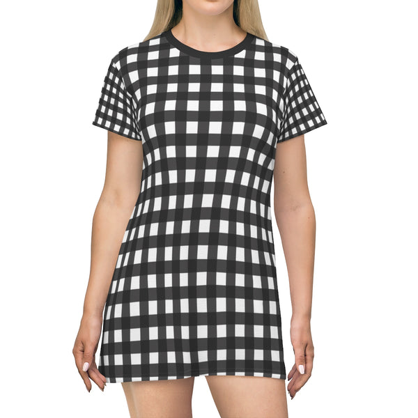 Black White Buffalo Plaid Print Designer Crew Neck T-shirt Dress-Made in USA-T-Shirt Dress-L-Heidi Kimura Art LLC Black Buffalo T-Shirt Dress, Black White Buffalo Plaid Print Designer Crew Neck Women's Long Tee T-shirt Dress-Made in USA (US Size: XS-2XL)