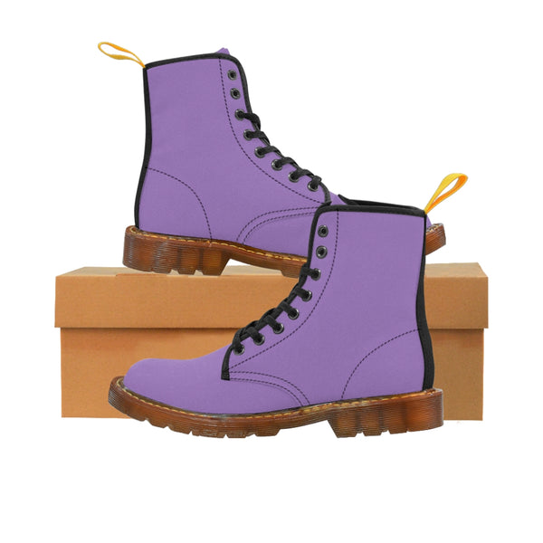 Purple Women's Canvas Boots, Solid Color Modern Essential Winter Boots For Ladies-Shoes-Printify-Brown-US 9-Heidi Kimura Art LLCPurple Women's Canvas Boots, Pastel Purple Classic Solid Color Designer Women's Winter Lace-up Toe Cap Ankle Hiking Boots (US Size 6.5-11) Modern Minimalist Casual Fashion Winter Boots