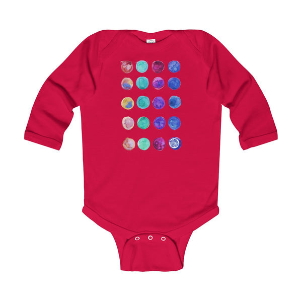 Polka Dots Print Baby's Cute Infant Long Sleeve Bodysuit - Made in UK (UK Size: 6M-24M)-Kids clothes-Red-12M-Heidi Kimura Art LLC