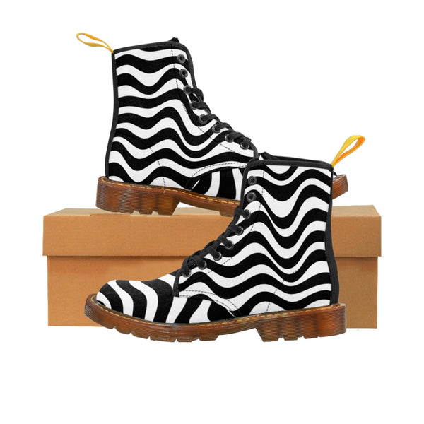 Wavy Striped Women's Canvas Boots, Modern White Black Stripes Print Winter Boots For Ladies-Shoes-Printify-Brown-US 8.5-Heidi Kimura Art LLC