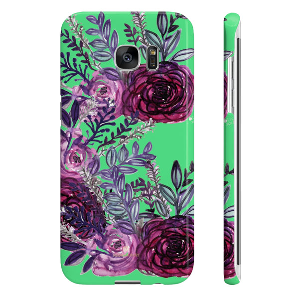 Lime Green Slim iPhone/ Samsung Galaxy Floral Purple Rose Phone Case, Made in UK-Phone Case-Samsung Galaxy S7 Edge Slim-Glossy-Heidi Kimura Art LLC