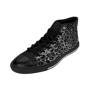 Black Leopard Men's Tennis Shoes, Animal Print Designer Best High-top Sneakers For Men-Shoes-Printify-Black-US 9-Heidi Kimura Art LLC