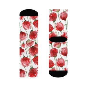 Red Poppy Floral Print Socks, Unisex Designer Premium Quality Crew Socks - Designed in USA-Socks-3/4 Crew-Heidi Kimura Art LLC