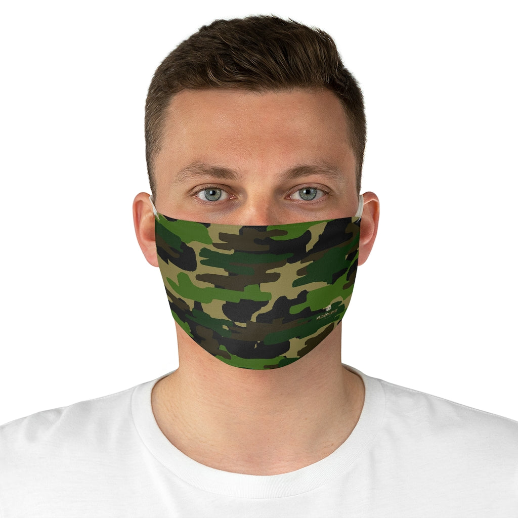 "Green Camouflage Print Face Mask, Adult Modern Fabric Face Mask-Made in USA-Accessories-Printify-One size-Heidi Kimura Art LLC Green Camouflage Print Face Mask, Adult Military Style Designer Fashion Face Mask For Men/ Women, Designer Premium Quality Modern Polyester Fashion 7.25"" x 4.63"" Fabric Non-Medical Reusable Washable Chic One-Size Face Mask With 2 Layers For Adults With Elastic Loops-Made in USA"