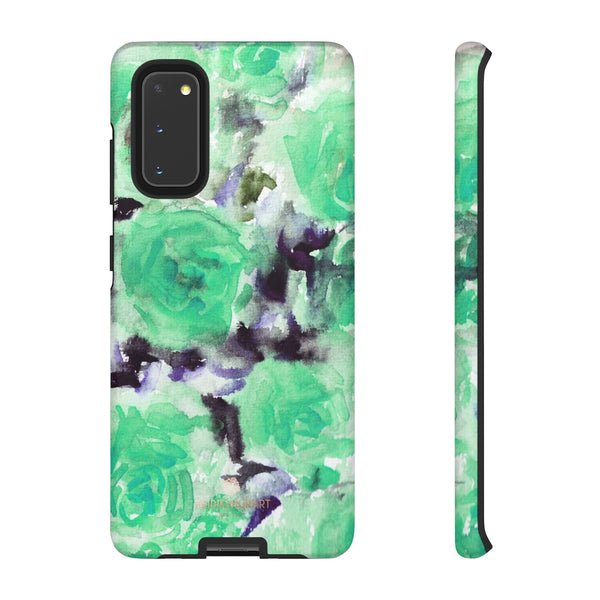 Turquoise Floral Print Tough Cases, Designer Phone Case-Made in USA-Phone Case-Printify-Samsung Galaxy S20-Matte-Heidi Kimura Art LLC