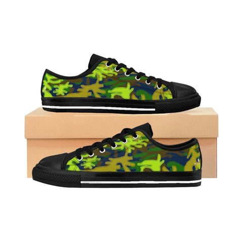 Navy Blue Green Camouflage Military Print Premium Men's Low Top Canvas Sneakers-Men's Low Top Sneakers-Heidi Kimura Art LLC