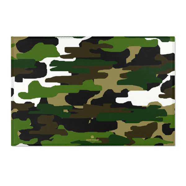 "Green Camouflage Military Army Print Designer 24x36, 36x60, 48x72 inches Area Rugs - Printed in USA-Area Rug-36"" x 24""-Heidi Kimura Art LLC"