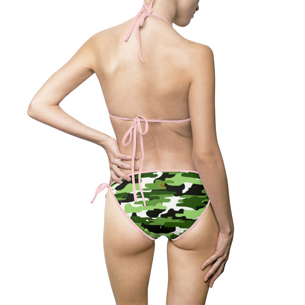 Light Green Camouflage Camo Military Army Print Women's Bikini Swimsuit Set (US Size: S-5XL)-Bikini-Heidi Kimura Art LLC