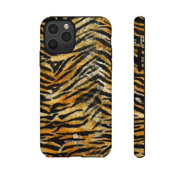 Orange Tiger Striped Phone Case, Animal Print Tough Cases, Designer Phone Case-Made in USA-Phone Case-Printify-iPhone 11 Pro-Matte-Heidi Kimura Art LLC