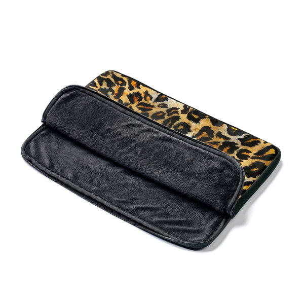 "Wild Big Cat Leopard Animal Print 12', 13"", 14"" Laptop Sleeve Computer Bag - Designed + Made in the USA-Laptop Sleeve-Heidi Kimura Art LLC"